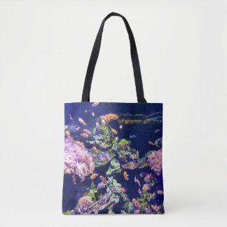 Underwater Orange Clown Fish Around Coral Tote Bag