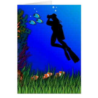 Underwater Photographer Blank Card
