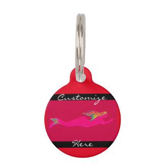 underwater pink mermaid red pet ID tag