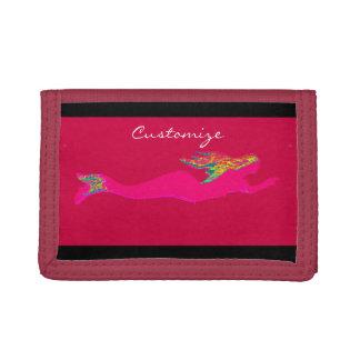 underwater pink mermaid swimming trifold wallet
