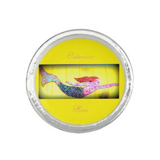 underwater pink mosaic mermaid photo rings