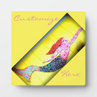underwater pink mosaic mermaid plaque