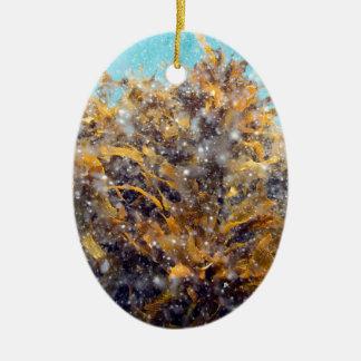 Underwater plankton soup and kelp ceramic ornament