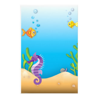 Underwater Purple Seahorse Stationery