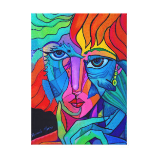 Underwater rainbow girl canvas print