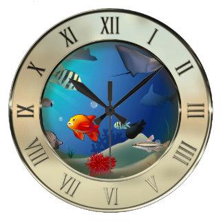 Underwater scene large clock