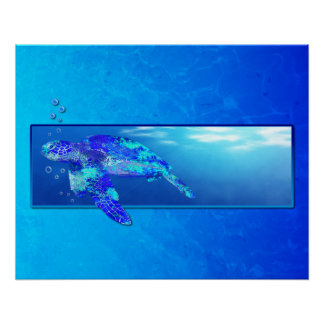 Underwater Sea Turtle Perfect Poster