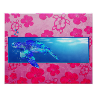 Underwater Sea Turtle Poster