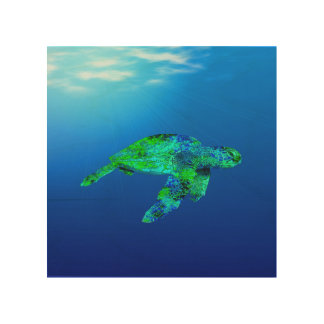 Underwater Sea Turtle Wood Canvas
