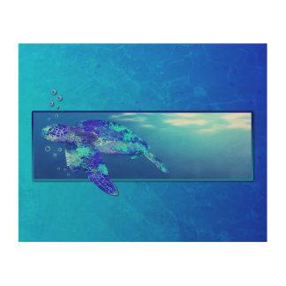 Underwater Sea Turtle Wood Prints