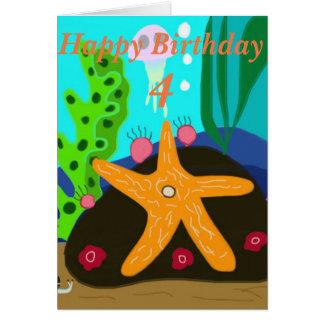 Underwater Starfish editable age Birthday Card