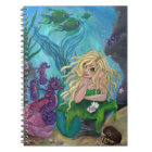 """Underwater Treasures"" mermaid seahorse NOTEBOOK"