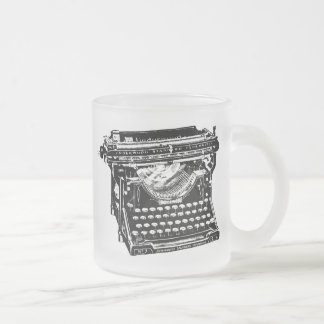 Underwood Typewriter Writer Frosted Glass Coffee Mug