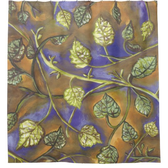 undulating leaves green navy gold shower curtain