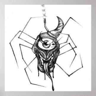 Une affiche observée gothique d'araignée