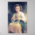 Une Couronne de Bouguereau - d'Enfant Tressant Poster
