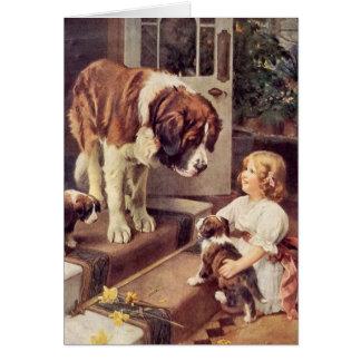 Une fille et ses chiens de St Bernard, Carte De Vœux