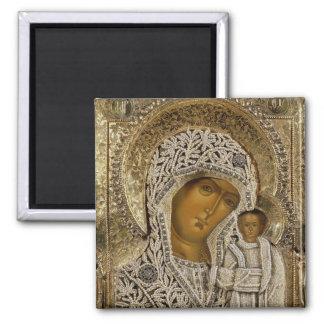 Une icône montrant la Vierge de Kazan Magnet Carré