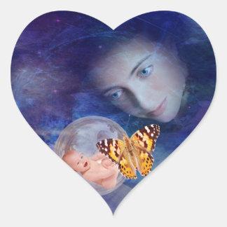 Une joie de bébé et de mère sticker cœur