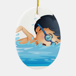 Une natation d'enfant ornement ovale en céramique