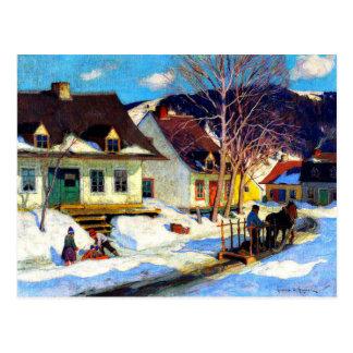 Une rue de village du Québec - illustration de Carte Postale