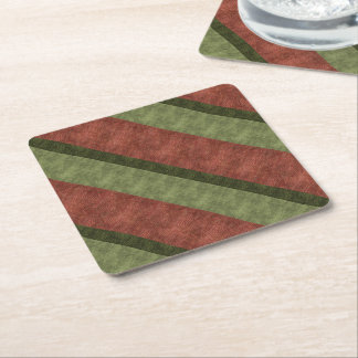 Uneven Stripes in Cranberry Light and Dark Green Square Paper Coaster
