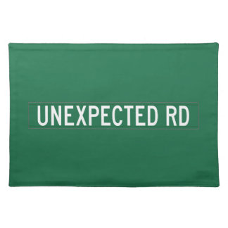 Unexpected Road, Street Sign, New Jersey, US Place Mats