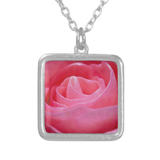 Unfurling Pink Rose Silver Plated Necklace