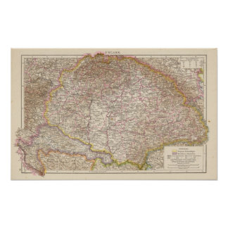 Ungarn, Hungary Atlas Map Poster