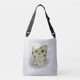 Unhappy Cat in Snow Folk Art Crossbody Bag