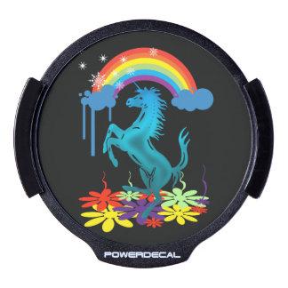 Unicorn 1 cyan with rainbow flowers LED window decal