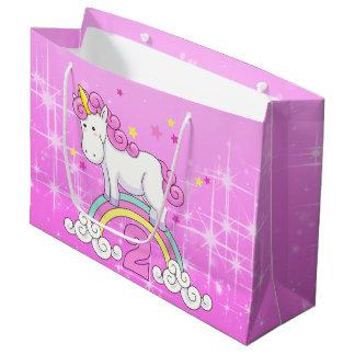 Unicorn 2nd Birthday Large Gift Bag