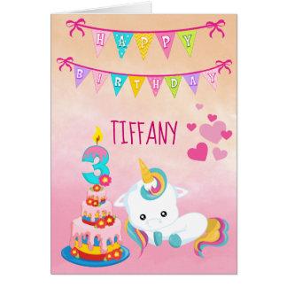 Unicorn 3rd Birthday Card