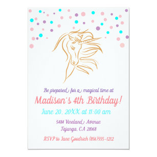 Unicorn 4th Birthday Confetti Invitation Card