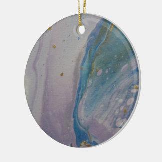 Unicorn Acrylic Pour Ceramic Ornament