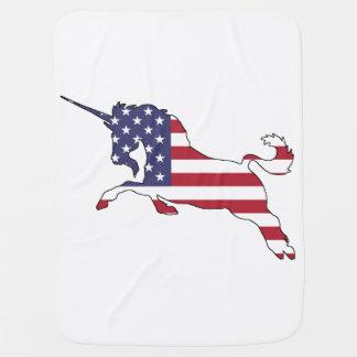 """Unicorn """"American Flag"""" Stroller Blanket"""