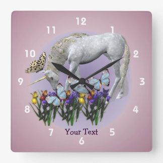 Unicorn And Butterflies Animal Square Wall Clock