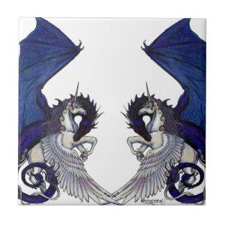 Unicorn and Dragon Wedding Lovers Tile
