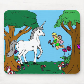 Unicorn and Fairy girl Mouse Pad