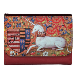 UNICORN AND FANTASY FLOWERS,FLORAL MOTIFS MONOGRAM LEATHER WALLET FOR WOMEN