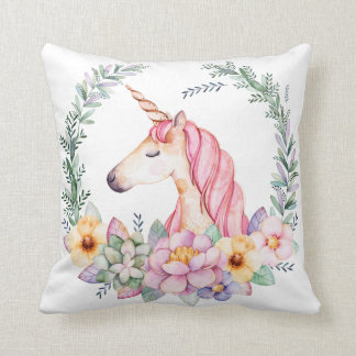 Unicorn and Flower Pillow