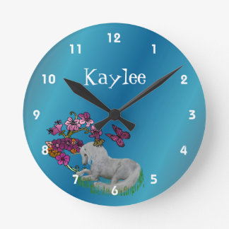 Unicorn And Flowers Personalized Name Round Clock