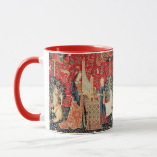 UNICORN AND LADY PLAYING ORGAN Red Green Floral Mug