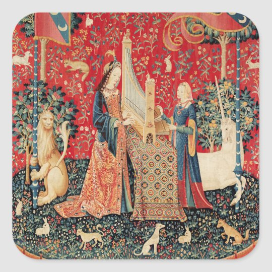 UNICORN AND LADY PLAYING ORGAN Red Green Floral Square Sticker