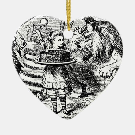 Unicorn and Lion Ceramic Heart Ornament