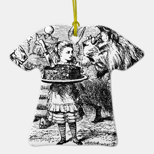Unicorn and Lion Ceramic T-Shirt Ornament