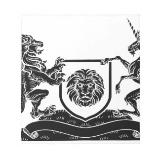 Unicorn and Lion Heraldic Coat of Arms Crest Notepad