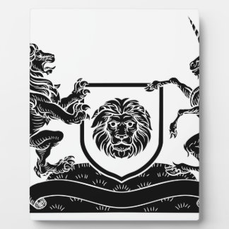 Unicorn and Lion Heraldic Coat of Arms Crest Plaque