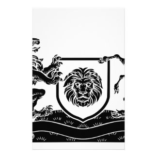 Unicorn and Lion Heraldic Coat of Arms Crest Stationery