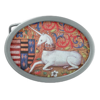 UNICORN AND MEDIEVAL FANTASY FLOWERS,FLORAL MOTIFS BELT BUCKLES